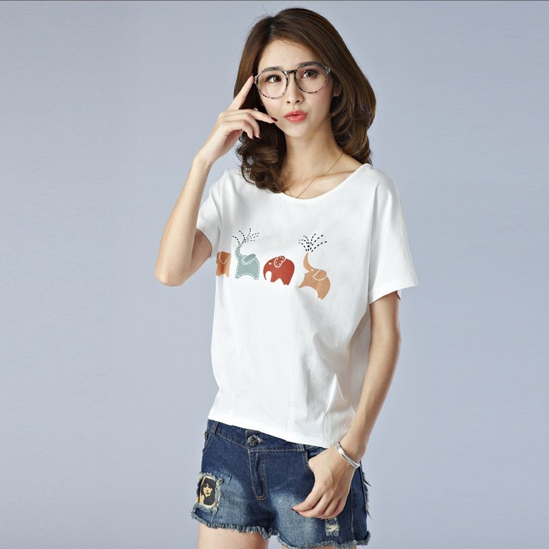 兰诗缇娜2016夏季韩版白色宽松短袖t恤女个性可爱姐妹