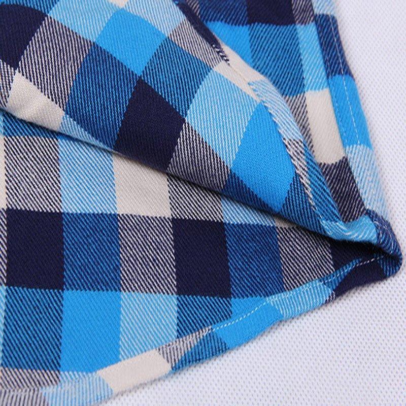 啄木鸟(tucano)春秋款纯棉磨毛刺绣无口袋 浅色格子 蓝色格子男士格子