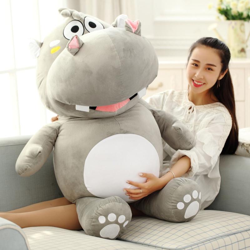 微笑可爱呆萌河马公仔毛绒玩具抱枕布娃娃鳄鱼玩偶情人节礼物女生礼物