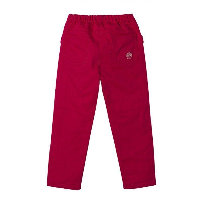 英氏女童秋装裤子红色休闲裤儿童长裤女宝宝纯棉中腰裤153181
