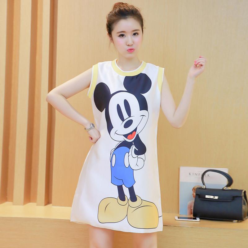 2016孕妇装夏装新款韩版可爱卡通印花无袖连衣裙大码女装