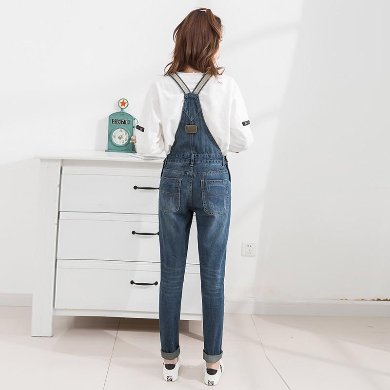 2016 新款无弹宽松学院风学生牛仔背带裤女长裤子
