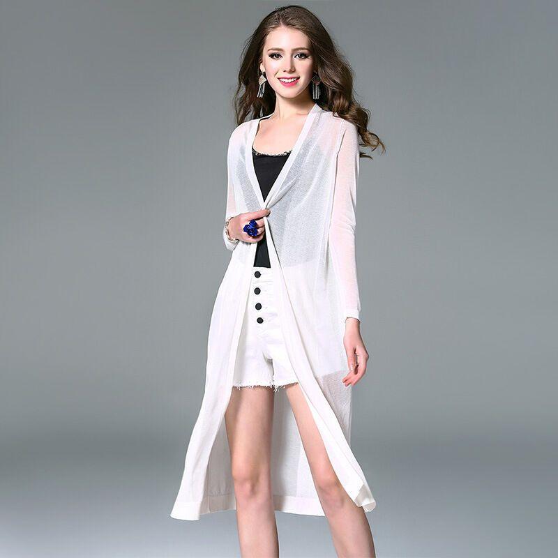 默蒂梵2017夏季新款针织开衫女 透视长款外搭冰丝长袖