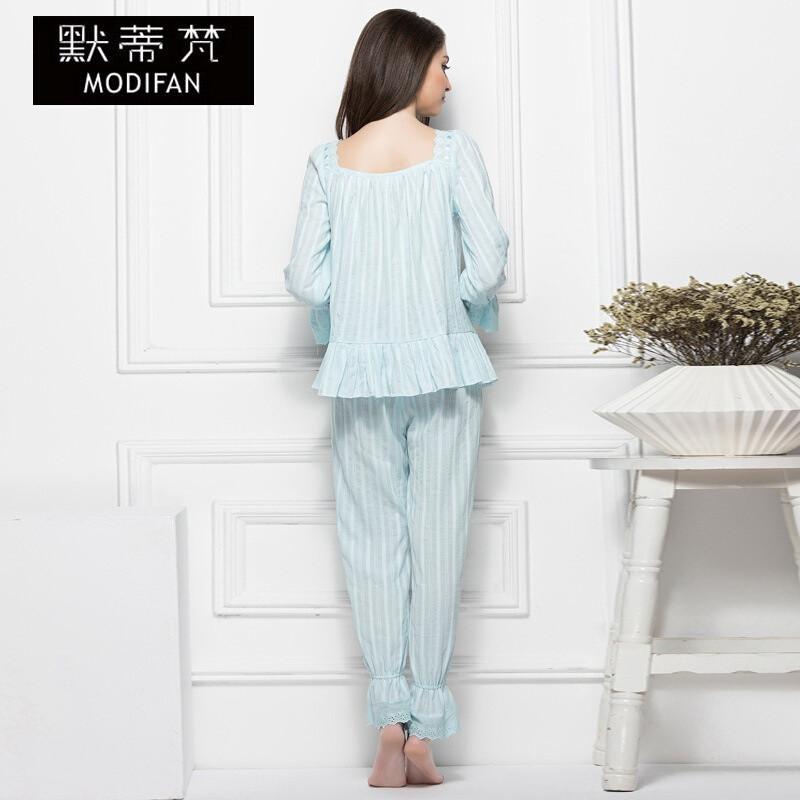 默蒂梵2017春夏新款棉女士家居服套装欧式宫廷复古大码睡衣两件套