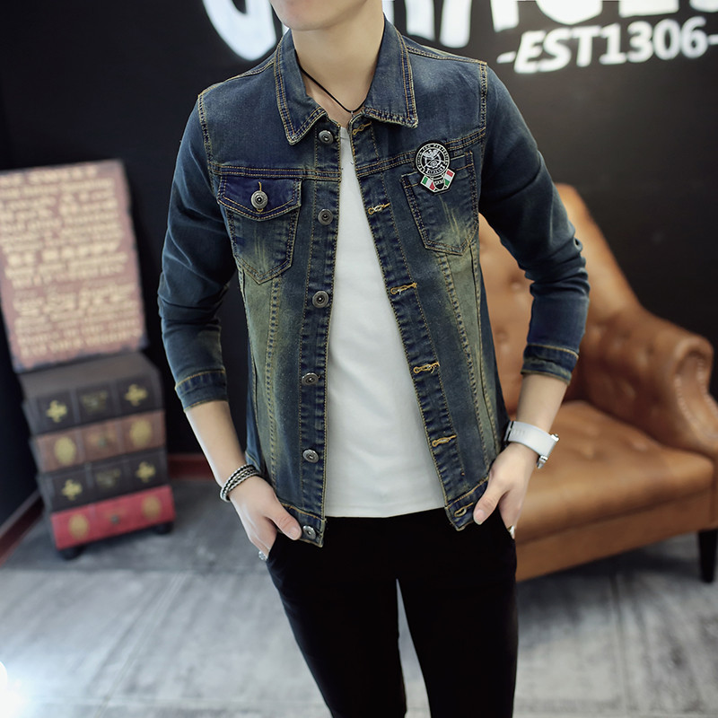 2017韩版男士牛仔夹克衫男生牛仔衣服休闲青少年修身外套春秋时尚印花