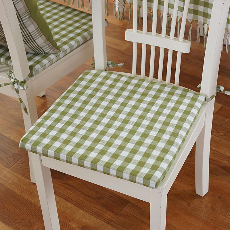 小艾家居 日式小清新格子餐厅椅垫餐桌椅子坐垫系带办公室海绵电脑图片