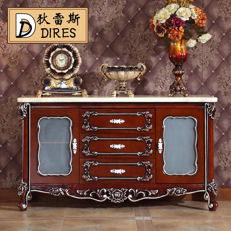 狄雷斯 欧式美式天然实木餐边柜碗柜橱柜玄关微波炉柜储物柜茶水柜 bf