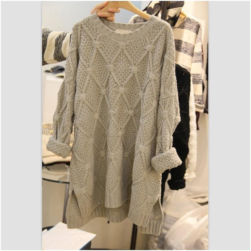 2015秋冬韩版宽松圆领长款加厚棒针毛衣女外套针织衫女装