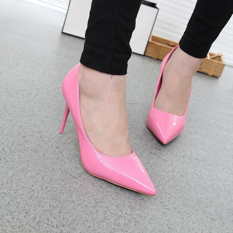 款性感粉色尖头高跟鞋细跟新娘鞋婚鞋oyaq76-透气漂亮宝宝海报印