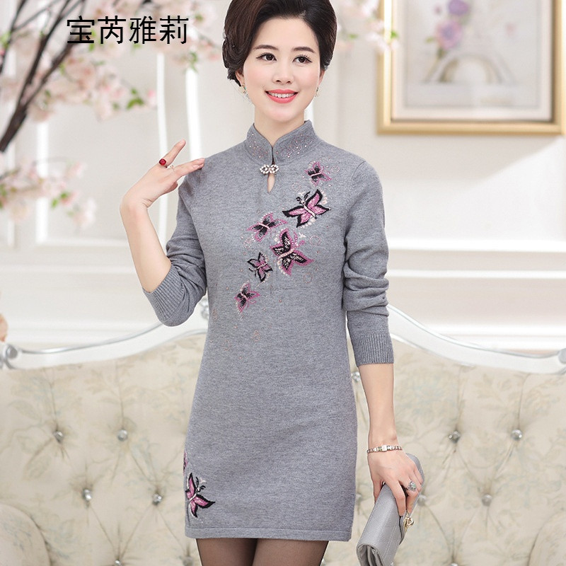 宝芮雅莉中年人旗袍女式 秋季长袖短款妈妈旗袍裙bqy