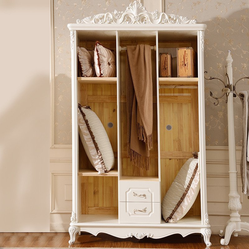 欧式衣柜法式田园衣橱 木质象牙白衣橱三门2抽实用衣柜