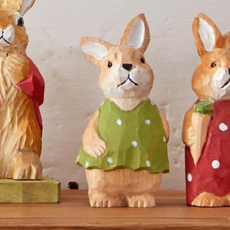 超萌亲纯手工实木雕刻工艺品创意实用礼品兔子木雕摆件胡萝卜兔
