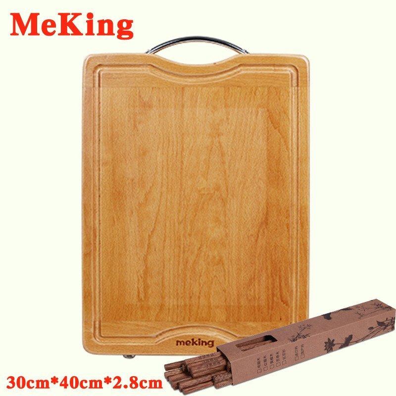 meking欧洲榉木砧板 实木切菜板 水果板 案板 刀板 两端横帽+销钉+木