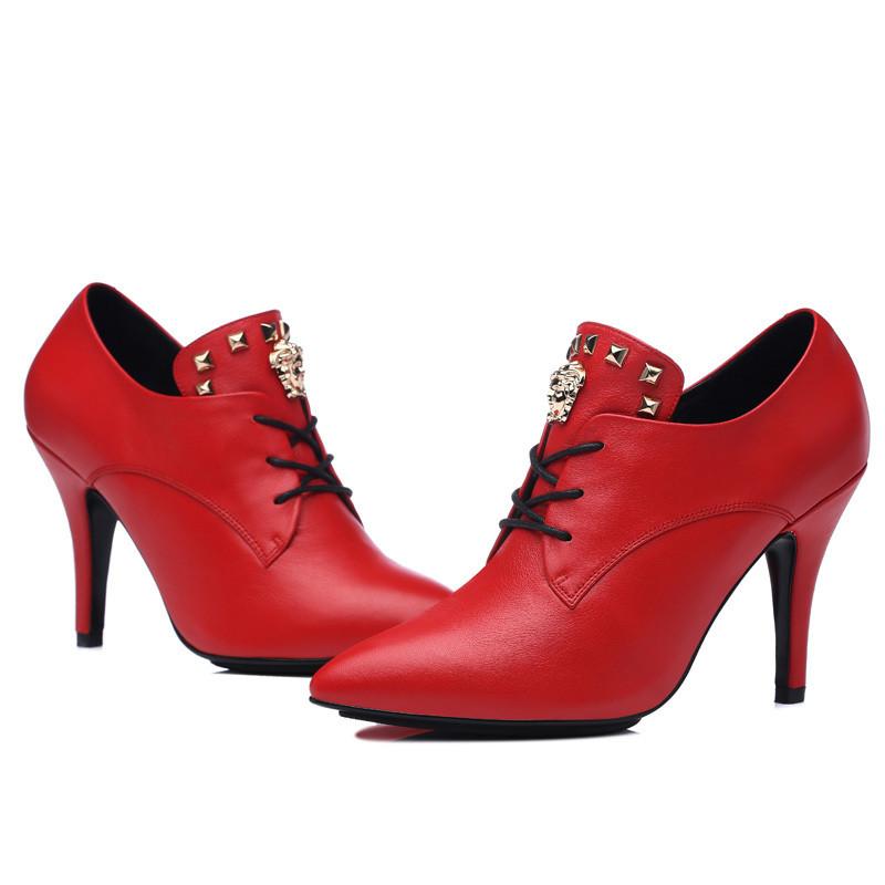尖头单鞋女鞋系带