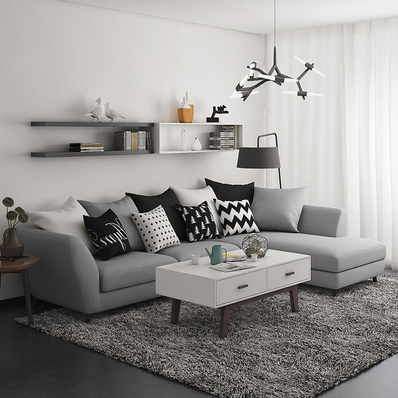 灰色田园布艺沙发配什么颜色的沙发垫好看.墙面和地面