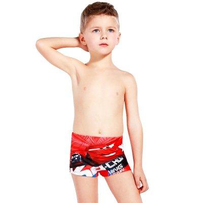 迪士尼兒童泳衣褲大小男童寶寶平角游泳褲卡通綁繩式汽車沙灘褲