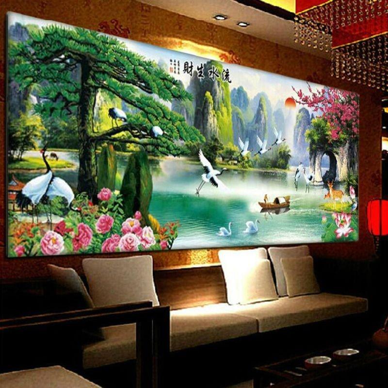 客厅新款水晶钻石绣贴画魔方钻卧室方钻砖石秀餐厅