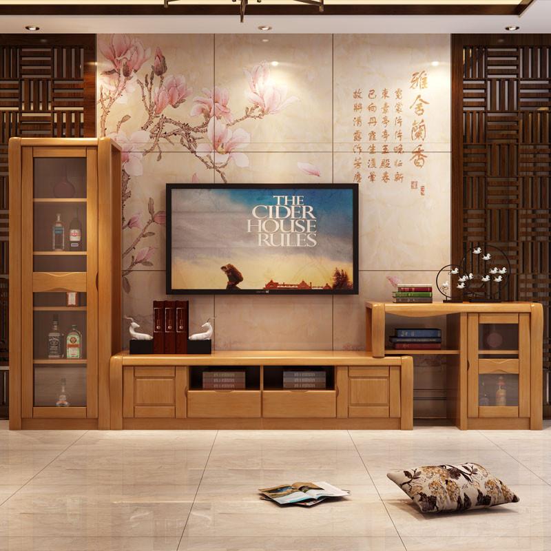 青木川 简约现代客厅家具中式实木电视柜组合柜 高低柜酒柜 储物柜