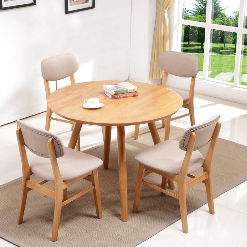 青木川 简约现代北欧宜家全实木餐桌 纯实木原木原创设计师小圆桌 小