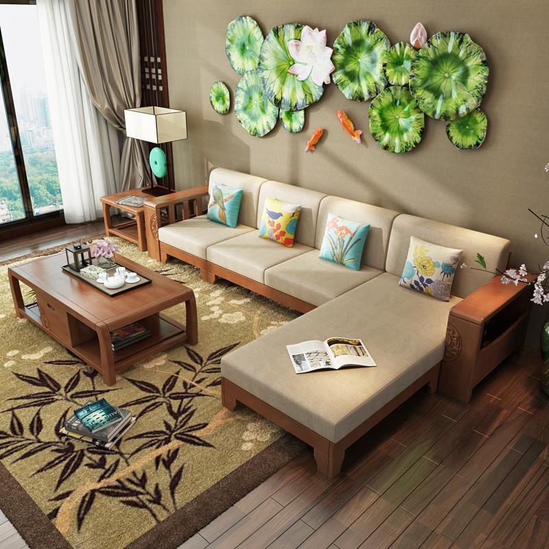 青木川 客厅家具实木沙发 中式三人位 单人位 大小户型组合全实木沙
