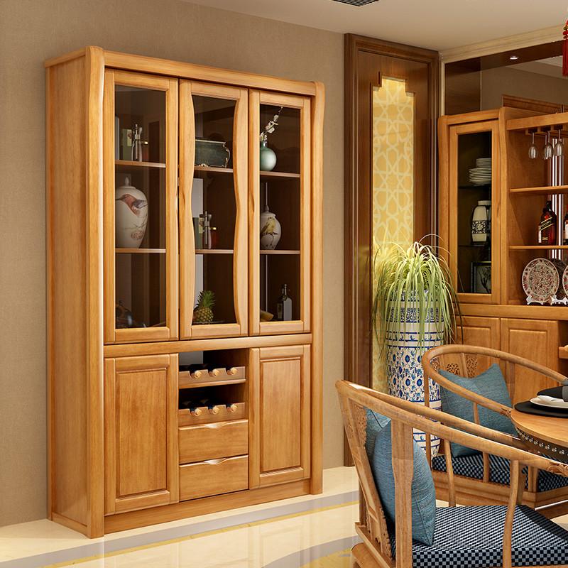 青木川 现代客厅中式红酒柜实木 三门餐边柜家用 玻璃
