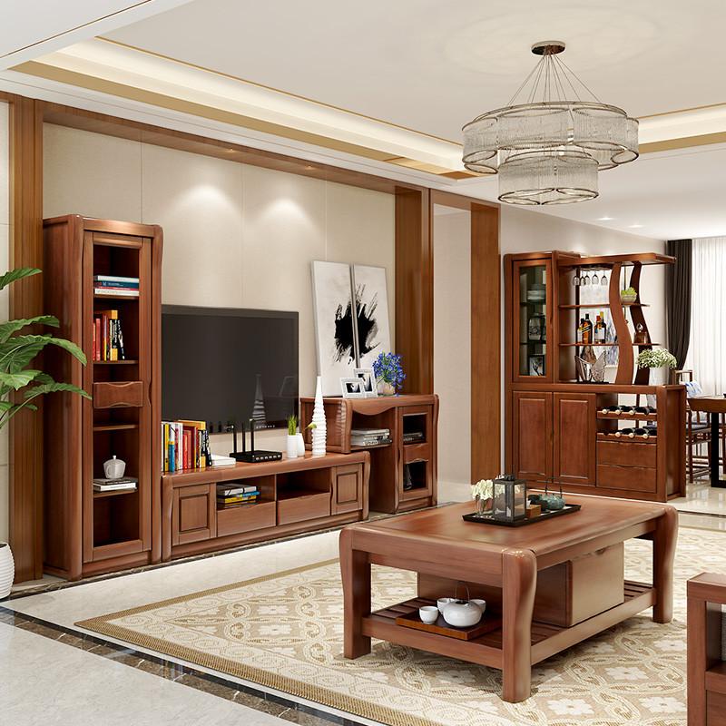 电视柜 可伸缩高低组合柜 茶几背景墙酒柜储物柜地柜影视柜 现代中式图片