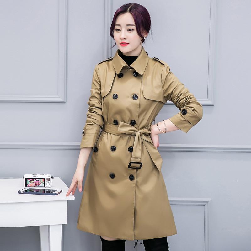 娇米诗2016冬季明星刘涛同款修身显瘦收腰中长款风衣外套女装