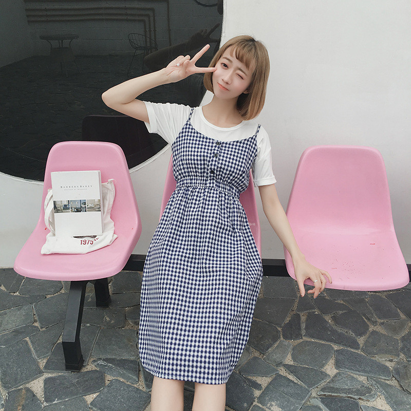 娇米诗2017夏季新款韩国原单复古文艺森系棉麻格子宽松背带连衣裙
