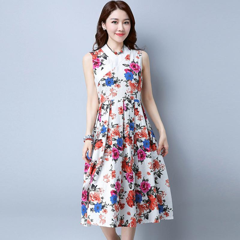 娇米诗2017夏季复古女装夏季新款绑带v领花布无袖连衣裙中长裙