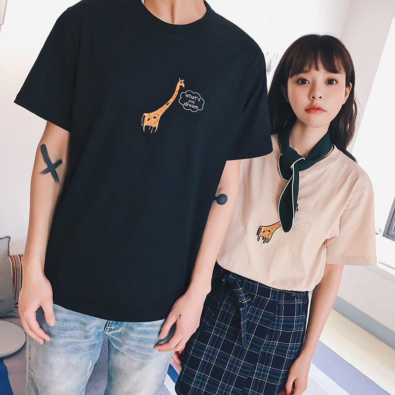 娇米诗2017夏季现货情侣装新款韩版绣花可爱长颈鹿t恤