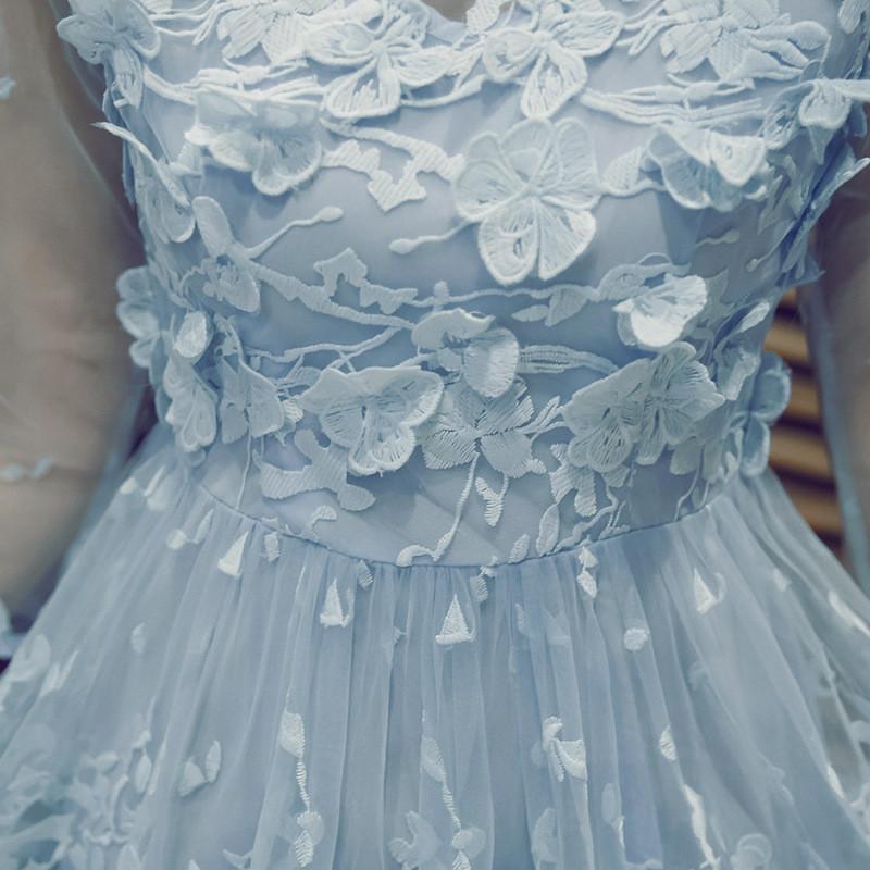 娇米诗2017秋装新款韩版秋装淑女装可爱立体绣花七分袖网纱连衣裙