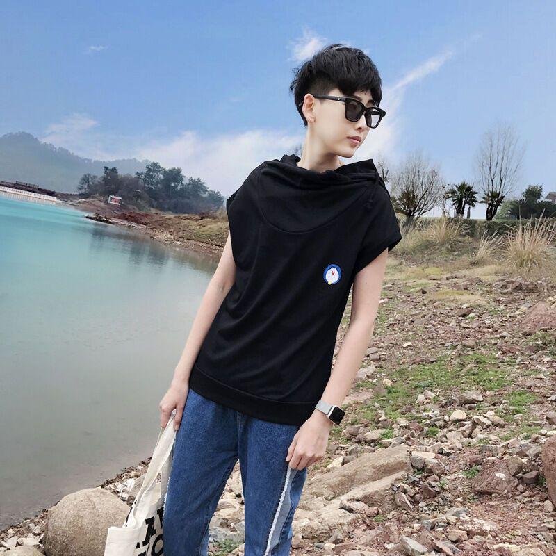 朗衣貝(lang yi bei)2017下季新款韓版男青年非主流男士修身連帽堆領圖片