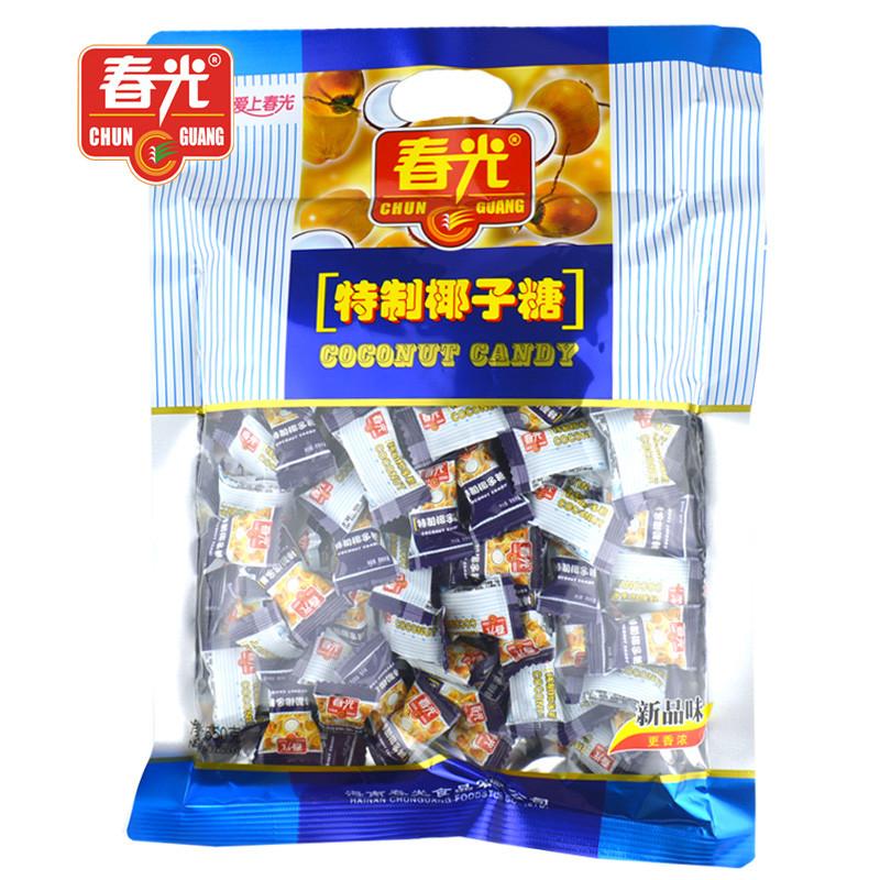 海南特产春光特制椰子糖550克糖果大包装零食香浓椰子