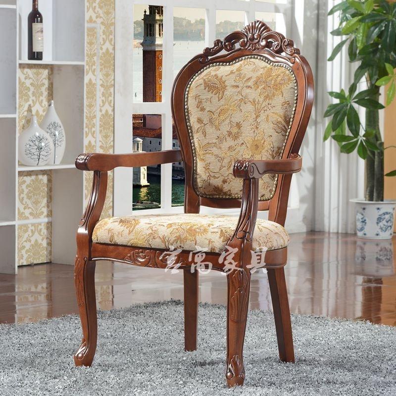 宫寓家具欧式实木餐椅 欧式餐厅椅子 布艺餐椅无扶手椅子扶手椅边椅图片