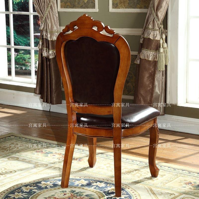 宫寓家具欧式实木餐椅酒店会所休闲扶手椅子 洽谈真皮图片