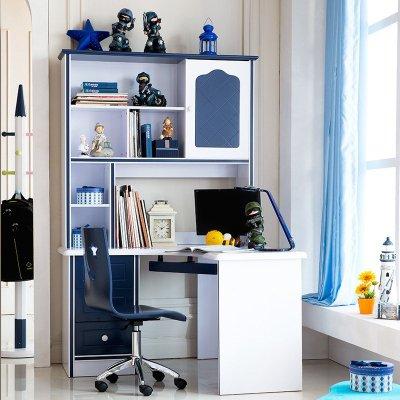 古卡罗 儿童儿童转角书桌书柜组合 卧室多功能电脑桌带书架