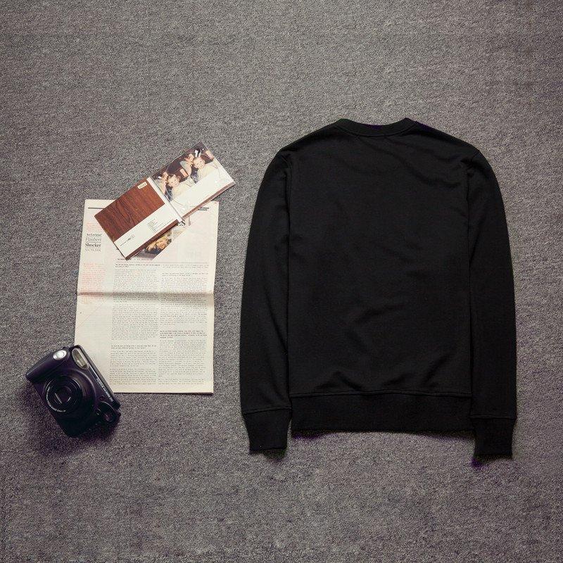 星涵2015新款韩版时尚男士套头圆领纯色长袖行走小人刺绣卫衣 m 黑色