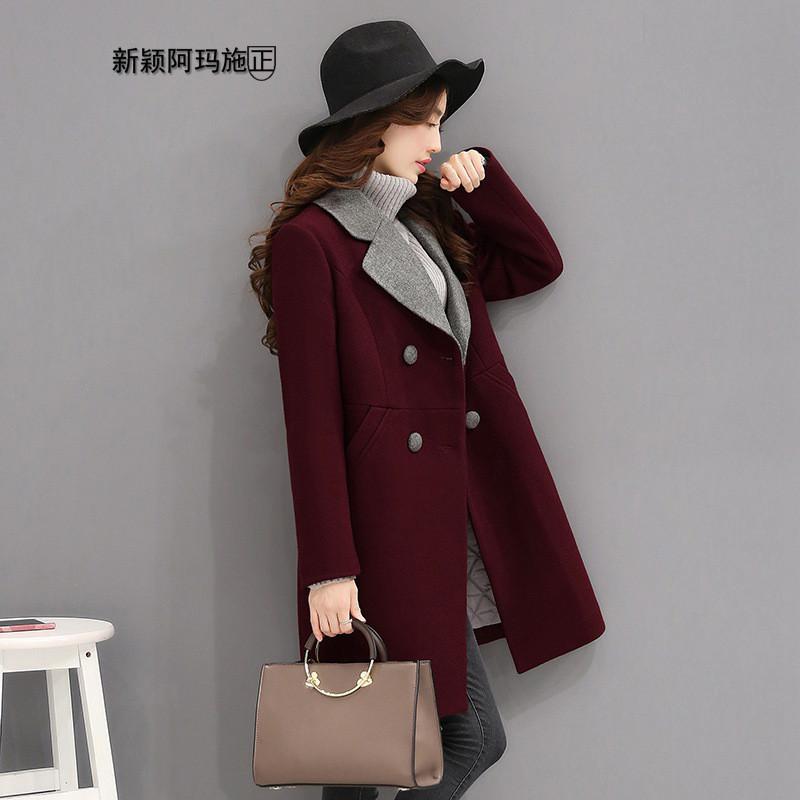 阿玛施正品牌2016冬季新品外套女中长款加厚韩版修身大码羊毛呢风衣图片