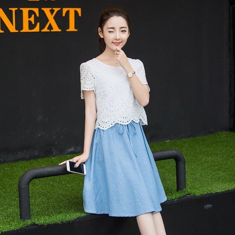 韩文2016新款中学生连衣裙夏装园领假两件初高中少女裙子n517