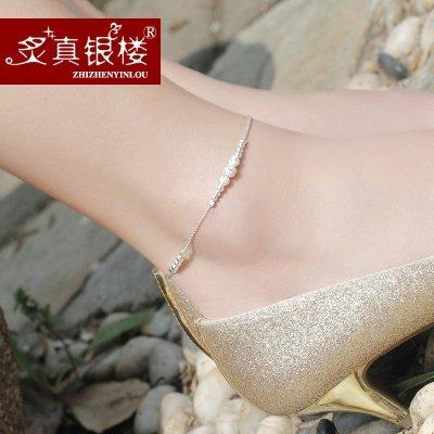 炙真銀樓 99足銀腳鏈女韓版甜美轉運珠 時尚簡約銀飾品 免費刻字 終生免費清洗維修