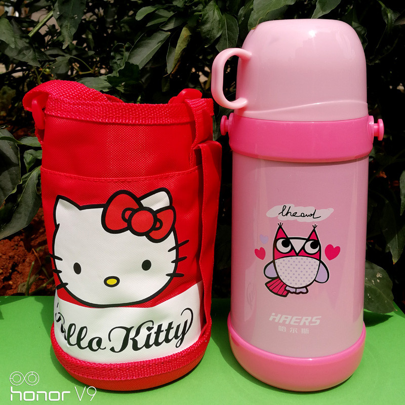 新款保温壶 可爱卡通便携背带学生保温水瓶宝宝创意水杯400ml