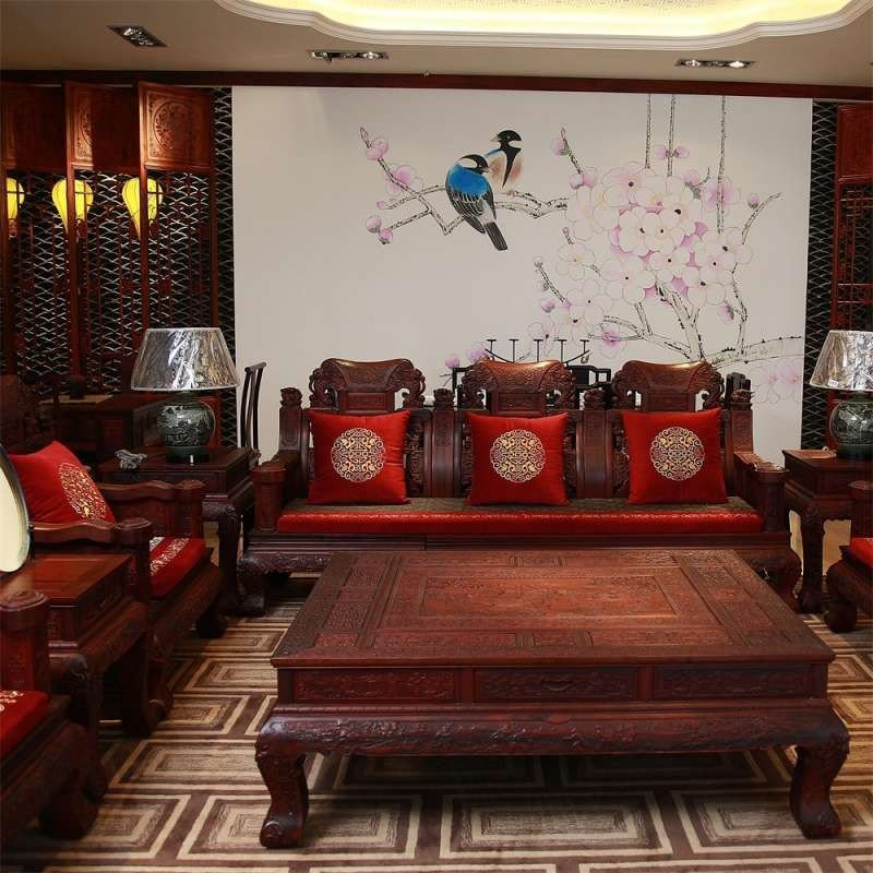 彩衣堂 红木家具坐垫沙发垫定做 高档中式刺绣坐垫抱枕 喜事盈门