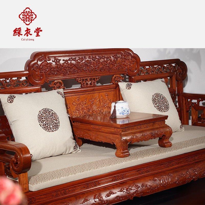 彩衣堂新苏绣中式古典红木软饰实木沙发靠垫抱枕坐垫定制刺绣花春福寿