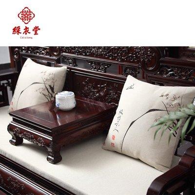 彩衣堂新苏绣中式古典红木软饰实木沙发靠垫抱枕坐垫定制刺绣花春清新