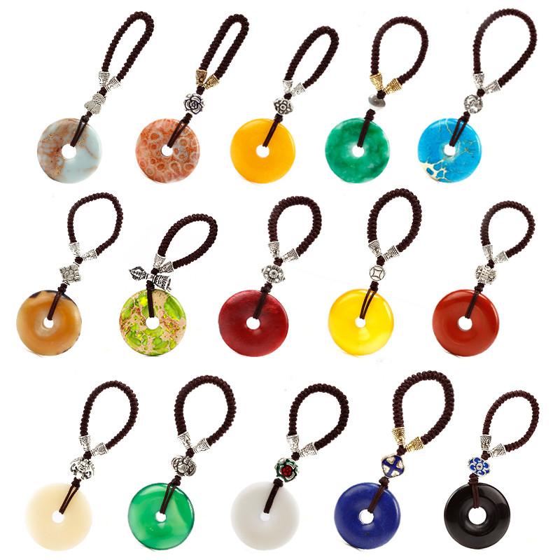 集祥阁 手工创意平安扣钥匙扣大全包挂饰多彩汽车钥匙