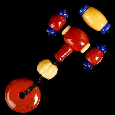 原礦南紅瑪瑙蜜蠟玉桶珠三通佛頭佛珠套裝金剛星月菩提配飾套餐