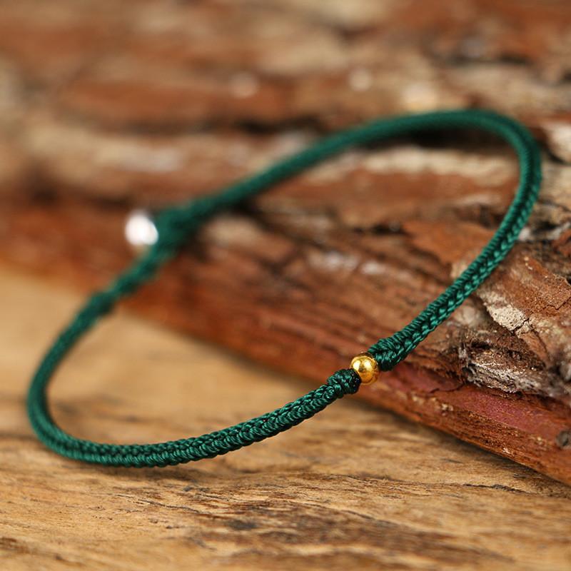 鸡年本命年手工编织红绳手链化太岁手绳简约细金珠手环送女友