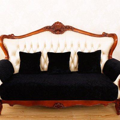 坐垫子套罩沙发巾飘窗垫可定做包邮欧式毛绒纯色黑色