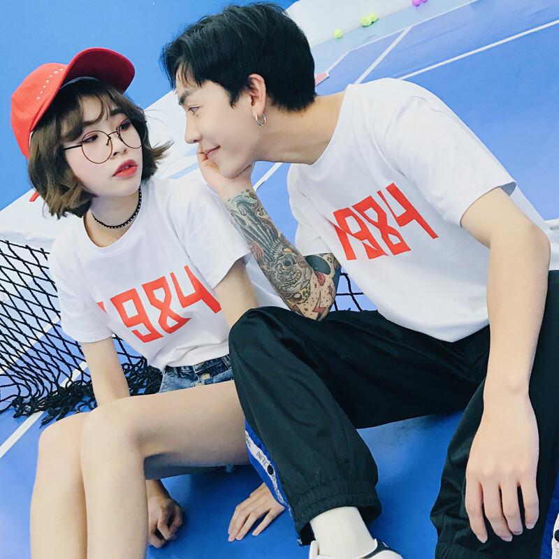 c2潮朝快手网红天佑夏装新款短袖恤时尚韩版情侣装恤打底衫精神小伙