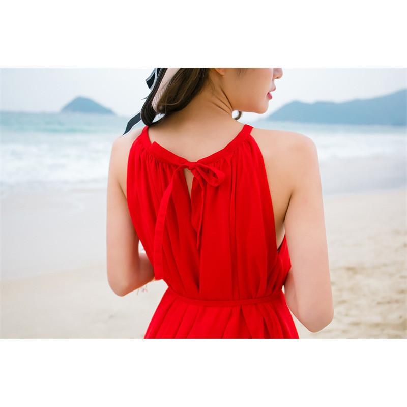 新款波西米亚短裙沙滩裙女海边度假大红色连衣裙夏装雪纺无袖背心裙子